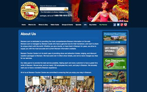 Screenshot of About Page branson.com - About Us - Branson.com : The Official Branson Website - captured Sept. 19, 2014