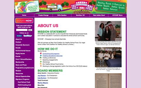 Screenshot of About Page healthyschoolfood.org - About NY Coalition for Healthy School Food - captured Oct. 7, 2014