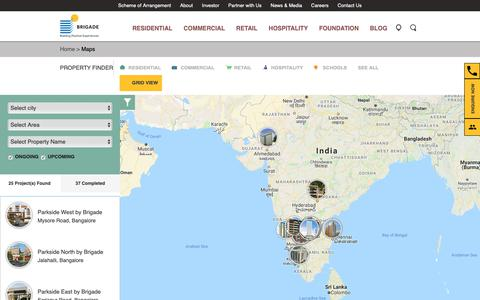 Screenshot of Maps & Directions Page brigadegroup.com - Location Map - Brigade Group - captured Dec. 9, 2018