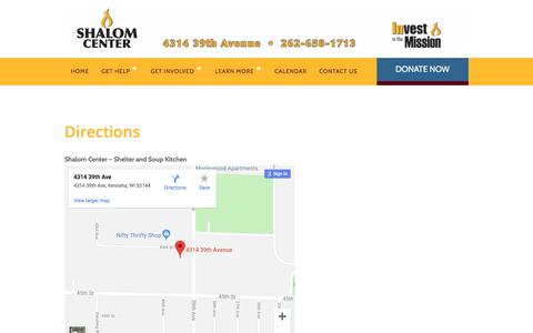 Screenshot of Maps & Directions Page shalomcenter.org - Directions – Shalom Center - captured Sept. 20, 2018