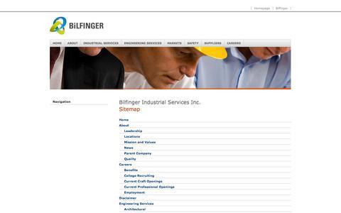 Screenshot of Site Map Page bilfinger.com - Sitemap - Bilfinger Industrial Services Inc. - captured Sept. 23, 2014