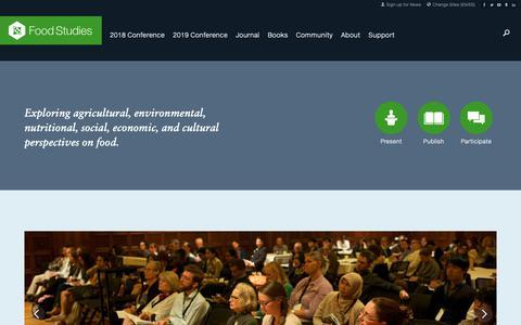 Screenshot of Home Page food-studies.com - Food Studies Research Network - captured Oct. 21, 2018