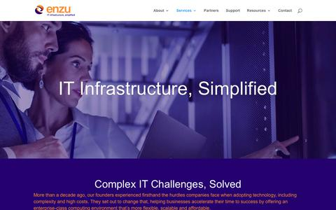 Screenshot of Services Page enzu.com - Services | Enzu Inc. - captured July 21, 2019