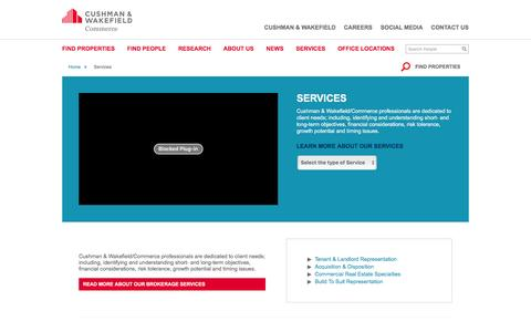 Screenshot of Services Page comre.com - Commercial Services | Commerce Real Estate Solutions - captured Jan. 30, 2016