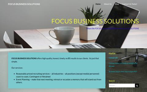Screenshot of Home Page focus-bs.com - FOCUS BUSINESS SOLUTIONS – Where the FOCUS is on your BUSINESS with the right SOLUTIONS - captured Oct. 10, 2018