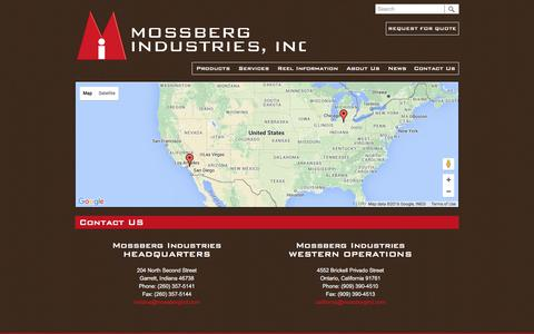 Screenshot of Contact Page mossbergind.com - Contact Us - Mossberg Industries - captured March 2, 2016