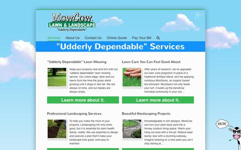 Screenshot of Services Page mowcow.com - Lawn Services - MowCow Lawn & Landscape - captured June 16, 2016
