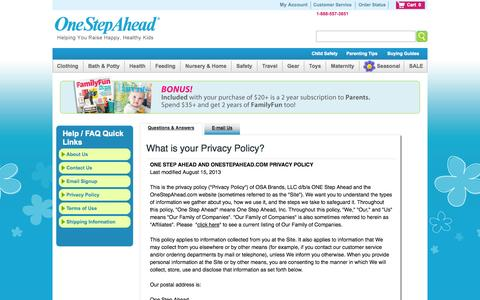 Screenshot of Privacy Page onestepahead.com - Customer Service/Help from One Step Ahead - captured Sept. 22, 2014