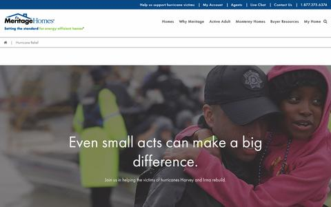 Screenshot of Support Page meritagehomes.com - Hurricane Relief | Meritage Homes - captured Sept. 12, 2017