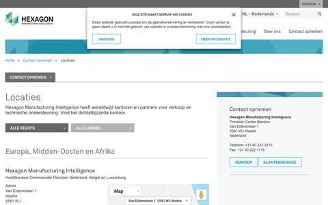 Screenshot of Locations Page hexagonmi.com - Locaties | Hexagon Manufacturing Intelligence - captured Oct. 21, 2018