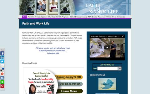 Screenshot of Home Page faithandworklife.org - Faith and Work Life - captured Oct. 8, 2014