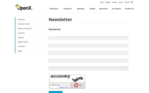 Screenshot of Signup Page openx.com - Newsletter | OpenX - captured July 21, 2014