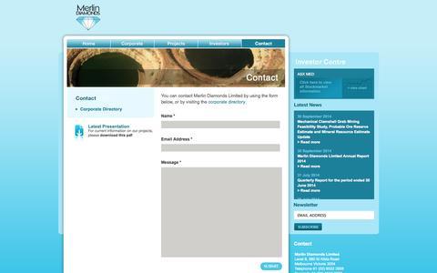 Screenshot of Contact Page merlindiamonds.com.au - Merlin Diamonds Limited | Contact - captured Oct. 26, 2014