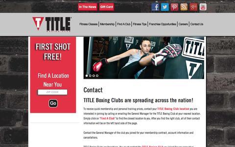 Screenshot of Contact Page titleboxingclub.com - TITLE Boxing Club     Contact Us - captured Sept. 19, 2014