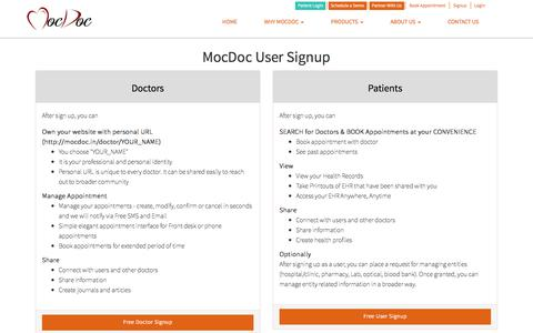 Screenshot of Signup Page mocdoc.in - Signup|MocDoc|User. - captured Sept. 24, 2018