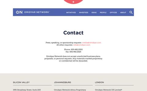 Screenshot of Contact Page omidyar.com - Contact | Omidyar Network - captured Sept. 23, 2014