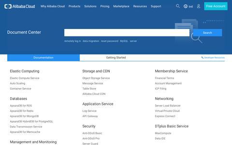 Screenshot of alibabacloud.com - Welcome to Alibaba Cloud Help Center - captured July 5, 2017