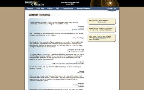 Screenshot of Testimonials Page huntcal.com - Online Calendar Customer Testimonials - Hunt Calendars - captured Nov. 4, 2014
