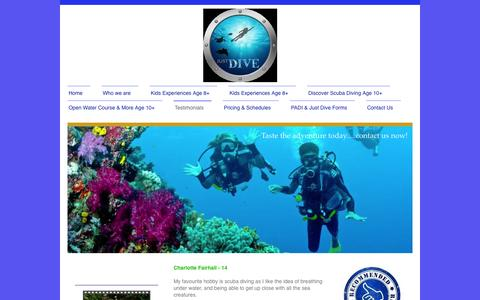 Screenshot of Testimonials Page just-dive.co.uk - http://www.just-dive.co.uk/recommended/ - captured Oct. 6, 2014