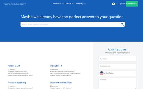 Screenshot of FAQ Page Support Page clmforex.com - Contact us - Trading Simplified - Core Liquidity Markets - captured Dec. 4, 2019
