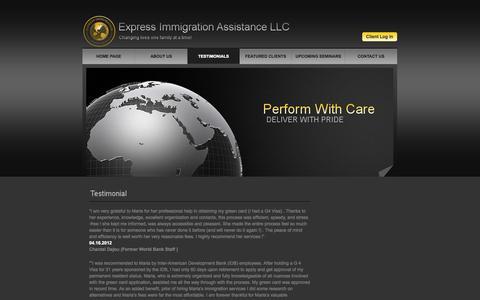 Screenshot of Testimonials Page eia-llc.com - Featured Testimonials - Express Immigration Assistance LLC - captured Oct. 3, 2014