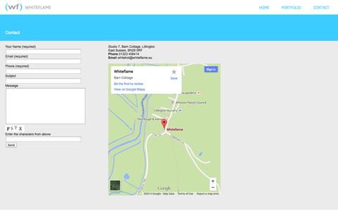 Screenshot of Contact Page whiteflame.eu - Contact | Whiteflame - captured Oct. 9, 2014