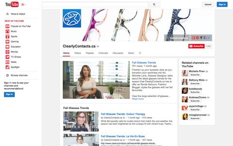 Screenshot of YouTube Page youtube.com - ClearlyContacts.ca  - YouTube - captured Oct. 23, 2014