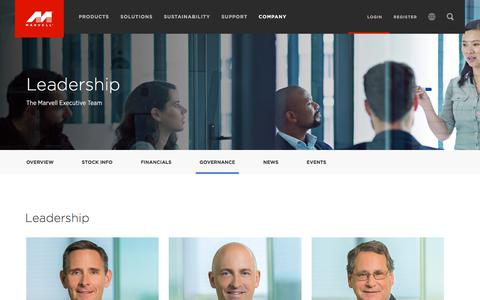 Screenshot of Team Page marvell.com - Company - Leadership - Marvell - captured Sept. 30, 2017