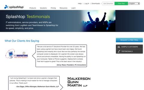 Screenshot of Testimonials Page splashtop.com - Splashtop Remote Support Customer Quotes and Testimonials - captured Jan. 3, 2020