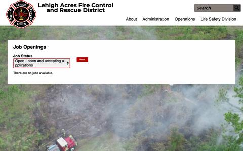 Screenshot of Jobs Page lehighfd.com - Job Openings | Lehigh Acres Fire control & Rescue District - captured Sept. 28, 2018
