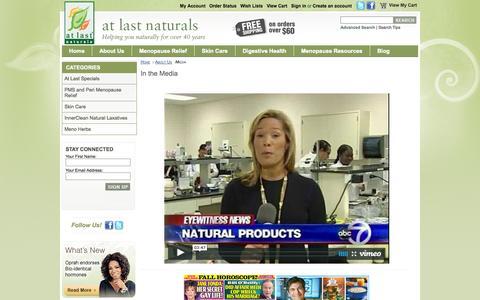 Screenshot of Press Page atlastnaturals.com - Media - captured Sept. 30, 2014