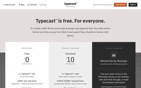 Screenshot of Pricing Page typecast.com - Plans - Typecast - captured Dec. 17, 2014