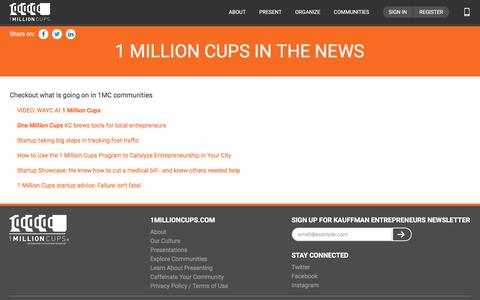Screenshot of Press Page 1millioncups.com - News | 1MillionCups.com | Kauffman Foundation - captured Sept. 25, 2018