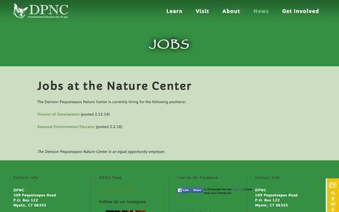 Screenshot of Jobs Page dpnc.org - Denison Pequotsepos Nature Center     Jobs - captured March 12, 2016