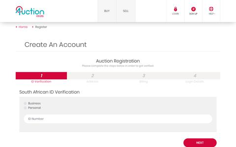 Screenshot of Signup Page auction.co.za - Register - Auction.co.za - captured Oct. 4, 2018