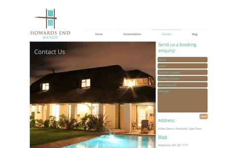 Screenshot of Contact Page howardsend.co.za - Contact - captured Nov. 14, 2016