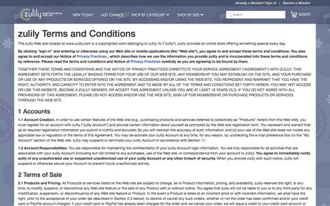 Screenshot of Terms Page zulily.com - Terms & Conditions | zulily - captured Dec. 2, 2015