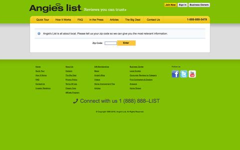 Screenshot of Contact Page angieslist.com - Angie's List has contractor and doctor reviews in your area | Enter zip code | Angies List - captured Feb. 20, 2016