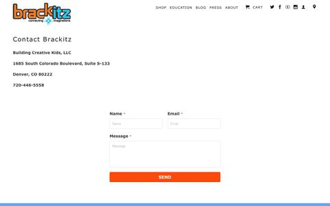 Screenshot of Contact Page brackitz.com - Contact | Brackitz - captured Nov. 21, 2017