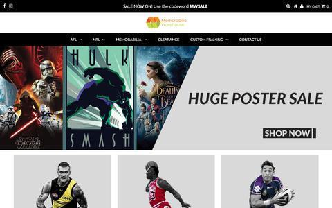Screenshot of Home Page memorabiliawarehouse.com.au - Your Memorabilia and Framing experts - explore the huge range – memorabiliawarehouse - captured Sept. 20, 2018