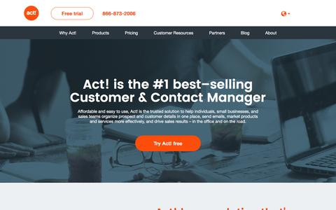 Screenshot of Home Page act.com - Act! Contact Management Software - captured June 16, 2016