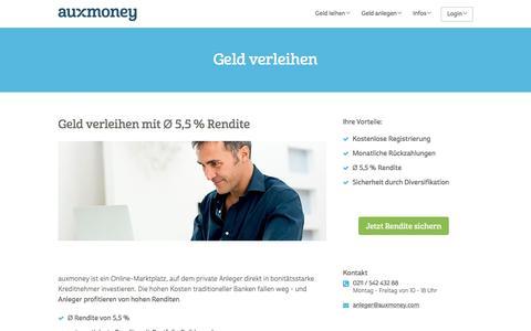 Geld verleihen mit Ø 5,5% Rendite » AUXMONEY.com