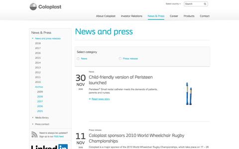 Screenshot of Press Page coloplast.com - 2009 - Corporate - captured July 6, 2018