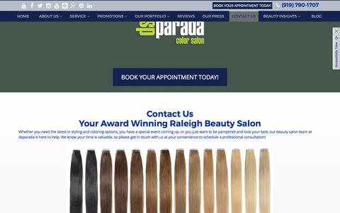 Screenshot of Contact Page dsparada.com - Contact Us | Hairstylists in Raleigh - captured Oct. 13, 2017