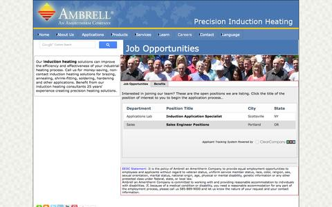 Screenshot of Jobs Page ambrell.com - Employment Opportunities - captured Sept. 19, 2014