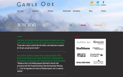 Screenshot of Press Page gamleode.com - In The News | Gamle Ode Aquavit - captured Jan. 26, 2016