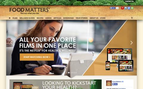 Screenshot of Home Page foodmatters.tv - FOODMATTERS® | Find All You Need To Recharge Your Health! - captured Sept. 18, 2014
