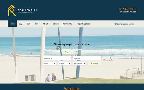 Screenshot of Home Page residentialrealty.com.au - Home - Residential Realty & Investment - captured Oct. 18, 2018