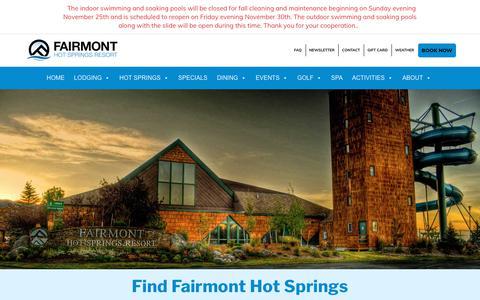 Screenshot of Maps & Directions Page fairmontmontana.com - Find Fairmont Hot Springs Resort — Fairmont Hot Springs Resort - captured Oct. 10, 2018