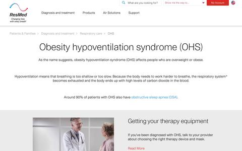 Obesity Hypoventilation Syndrome (OHS) | ResMed